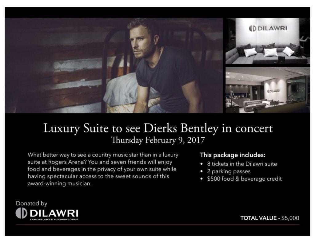 Dierks Bentley Concert Feb 8:2017 Value $5000