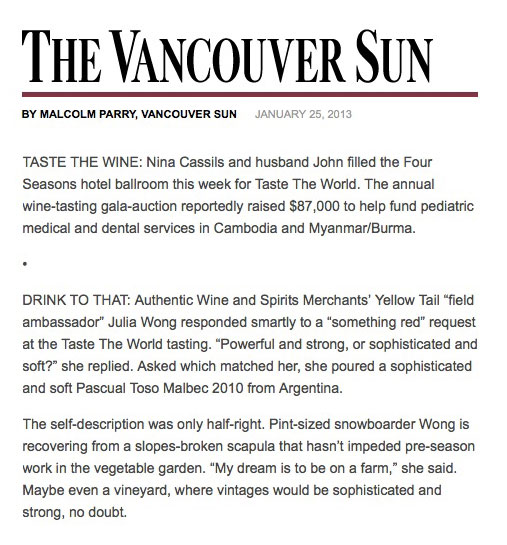 Malcolm Parry's column in the Vancouver Sun, January 25 2013