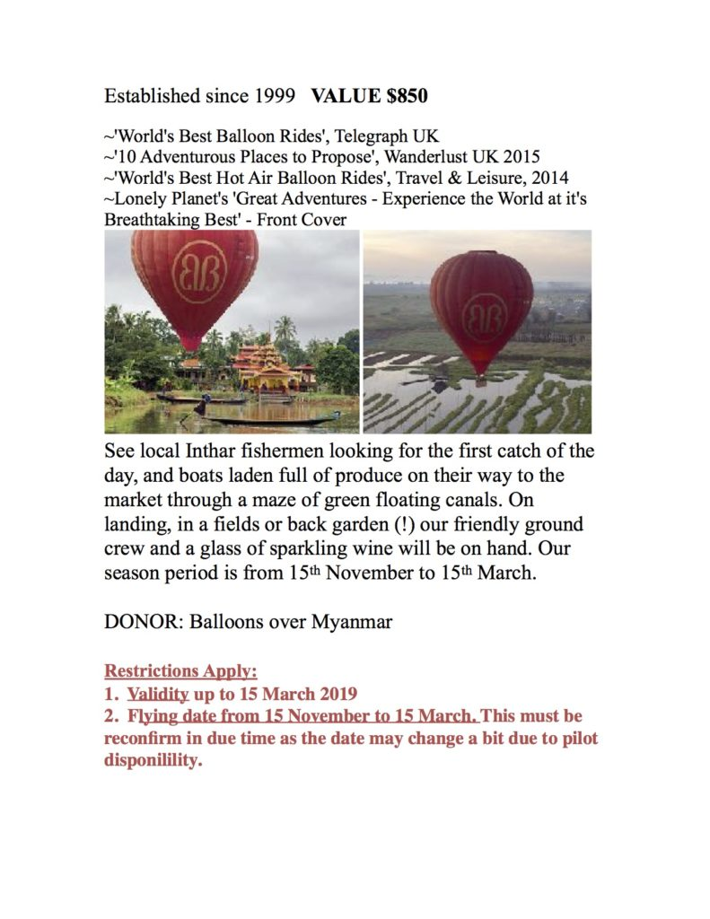 Balloons Over Inle fo 2 persons